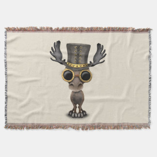 Cute Steampunk Baby Moose Throw Blanket