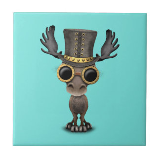 Cute Steampunk Baby Moose Tile