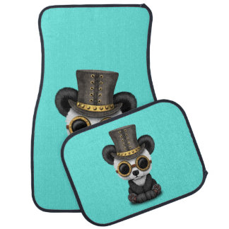 Cute Steampunk Baby Panda Bear Cub Car Mat