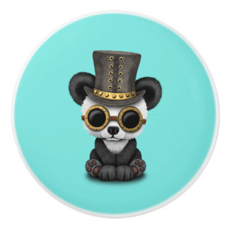 Cute Steampunk Baby Panda Bear Cub Ceramic Knob