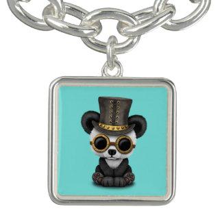 Cute Steampunk Baby Panda Bear Cub Charm Bracelet