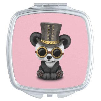Cute Steampunk Baby Panda Bear Cub Compact Mirror
