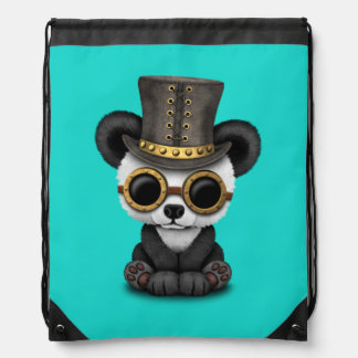Cute Steampunk Baby Panda Bear Cub Drawstring Bag