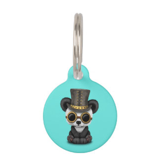 Cute Steampunk Baby Panda Bear Cub Pet Tag