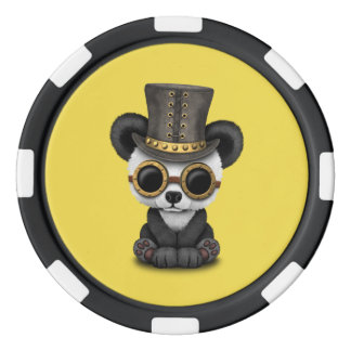 Cute Steampunk Baby Panda Bear Cub Poker Chips
