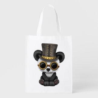 Cute Steampunk Baby Panda Bear Cub Reusable Grocery Bag