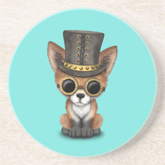 Cute Steampunk Baby Red Fox Coaster
