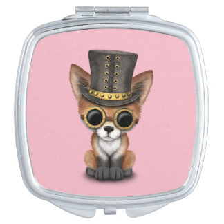 Cute Steampunk Baby Red Fox Compact Mirrors