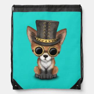Cute Steampunk Baby Red Fox Drawstring Bag