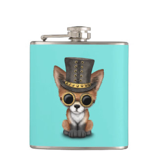 Cute Steampunk Baby Red Fox Hip Flask