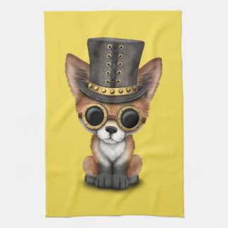 Cute Steampunk Baby Red Fox Kitchen Towel