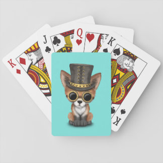 Cute Steampunk Baby Red Fox Playing Cards