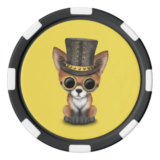 Cute Steampunk Baby Red Fox Poker Chips
