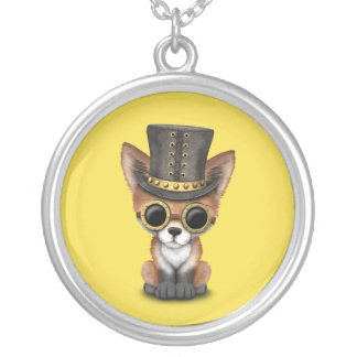 Cute Steampunk Baby Red Fox Silver Plated Necklace