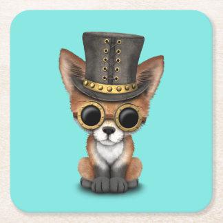 Cute Steampunk Baby Red Fox Square Paper Coaster