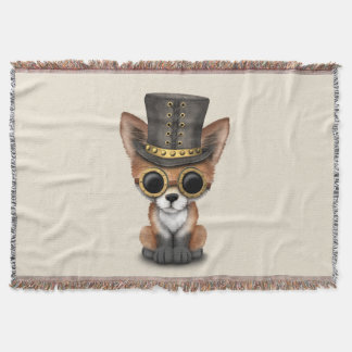 Cute Steampunk Baby Red Fox Throw