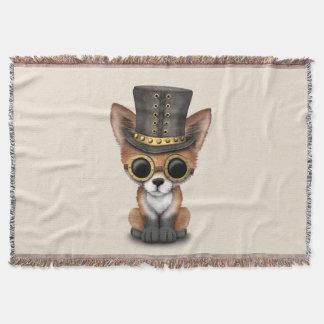 Cute Steampunk Baby Red Fox Throw Blanket