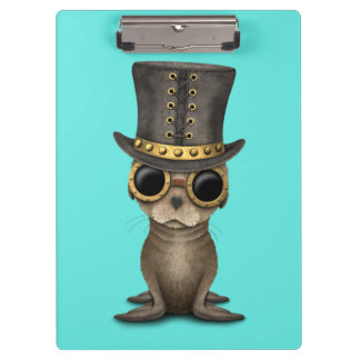 Cute Steampunk Baby Sea Lion Clipboard