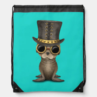 Cute Steampunk Baby Sea Lion Drawstring Bag