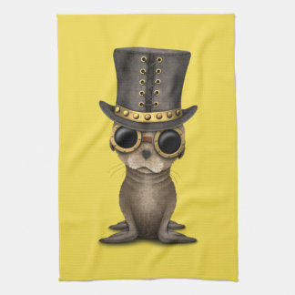 Cute Steampunk Baby Sea Lion Kitchen Towel