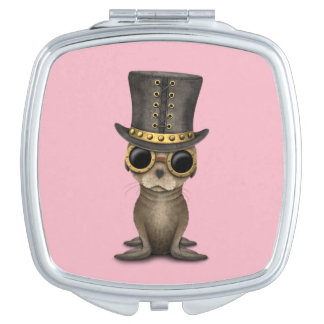 Cute Steampunk Baby Sea Lion Mirror For Makeup