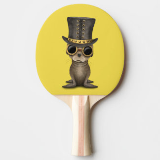 Cute Steampunk Baby Sea Lion Ping Pong Paddle