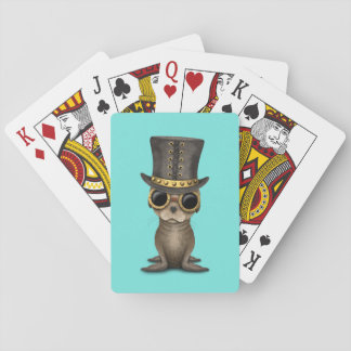Cute Steampunk Baby Sea Lion Playing Cards