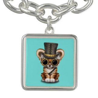 Cute Steampunk Baby Tiger Cub Charm Bracelet