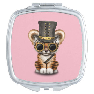 Cute Steampunk Baby Tiger Cub Compact Mirror