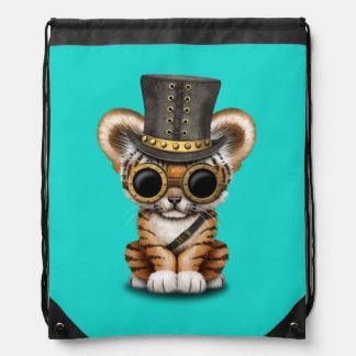 Cute Steampunk Baby Tiger Cub Drawstring Bag