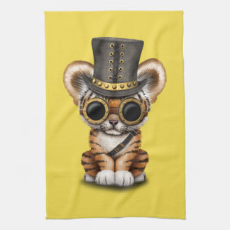 Cute Steampunk Baby Tiger Cub Kitchen Towel