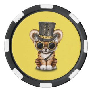 Cute Steampunk Baby Tiger Cub Poker Chips