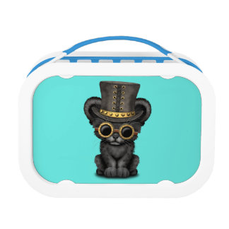 Cute Steampunk Black Panther Cub Lunchbox
