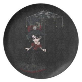 Cute Steampunk Goth Girl Black Damask Plate