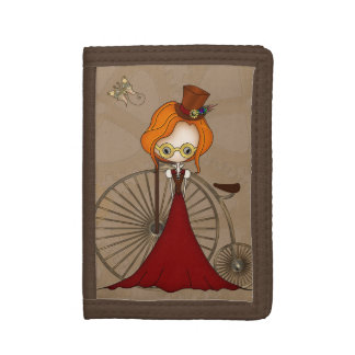 Cute Steampunk Lady and Penny Farthing Bicycle Trifold Wallet