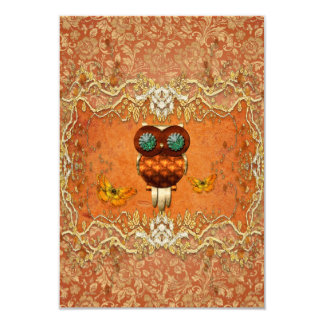 "Cute steampunk owl 3.5"" x 5"" invitation card"
