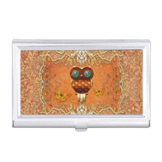 Cute steampunk owl business card cases
