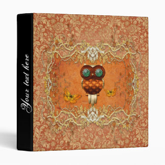 Cute steampunk owl on vintage background 3 ring binders