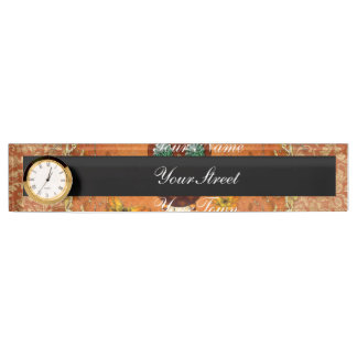 Cute steampunk owl on vintage background name plate