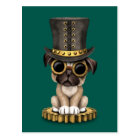 Cute Steampunk Pug Puppy Dog, teal Postcard