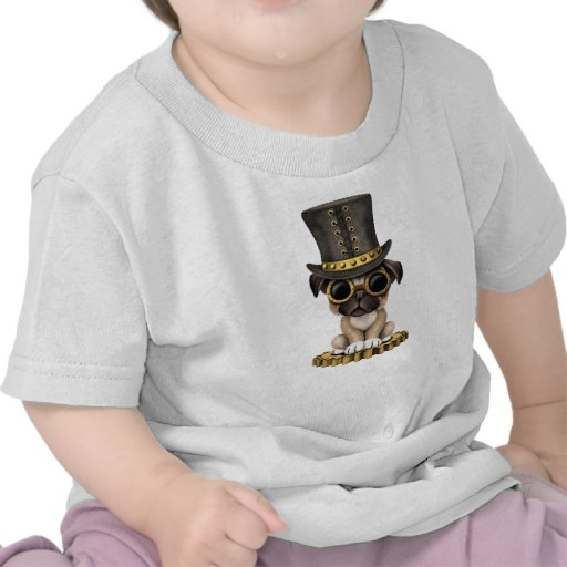 Cute Steampunk Pug Puppy Dog Tshirt