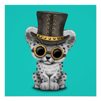 Cute Steampunk Snow Leopard Cub Poster