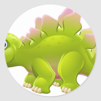 Cute Stegosaurus Cartoon Dinosaur Classic Round Sticker