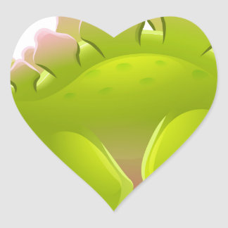 Cute Stegosaurus Cartoon Dinosaur Heart Sticker