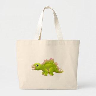 Cute Stegosaurus Cartoon Dinosaur Large Tote Bag