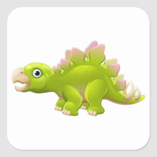 Cute Stegosaurus Cartoon Dinosaur Square Sticker