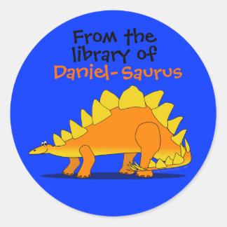 Cute Stegosaurus Dinosaur Custom Name Book Plate Classic Round Sticker