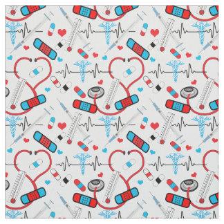 Cute Stethoscope Nurse | Doctor EKG Pattern Fabric