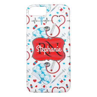 Cute Stethoscope Nurse | Doctor EKG Pattern Name Case-Mate iPhone Case
