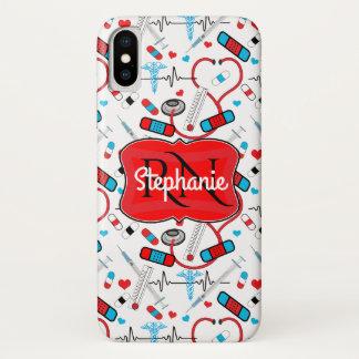 Cute Stethoscope Nurse | Doctor EKG Pattern Name iPhone X Case